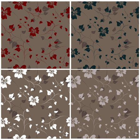 Set of floral seamless pattern. Ilustracja