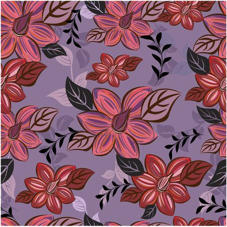 Vector abstract background seamless flowers and floral pattern
