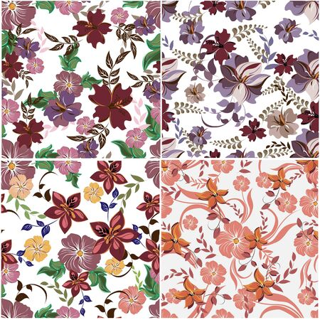 Vector abstract background seamless flowers and floral pattern Illustration