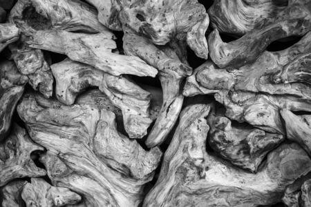 interrior: Stone woods stack in Monochrome style Stock Photo