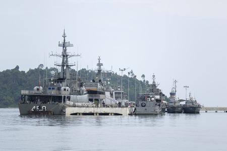 afloat: Navy Fighter ships afloat at shore