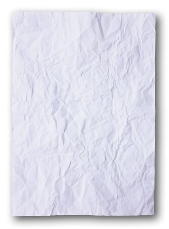 White crumpled paper on the white background photo