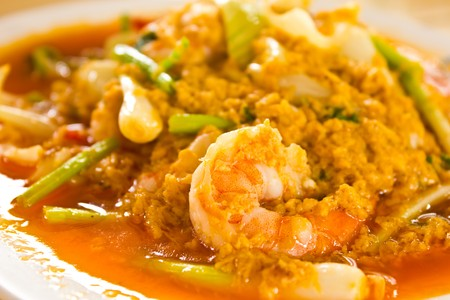 spanish culture: Fired Curry shrimp Stock Photo
