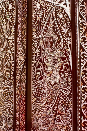Thai art on the door photo