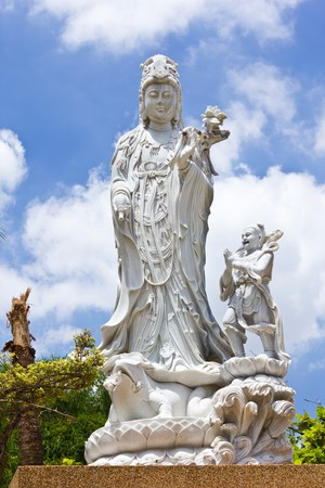 The guan yin buddha statue photo