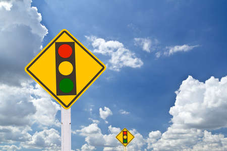 red light warning sign in blue sky Stock Photo - 8248172