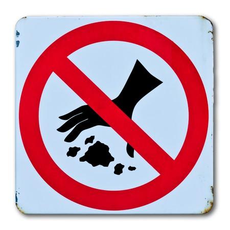 no throwing garbage warning sign photo