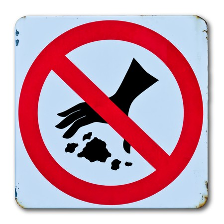 not allowed: no throwing garbage warning sign Stock Photo