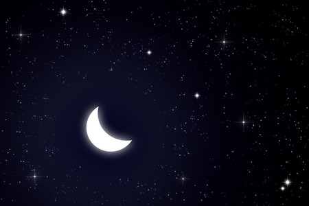 moon and star in the sky - illustration Stock Illustration - 8248094