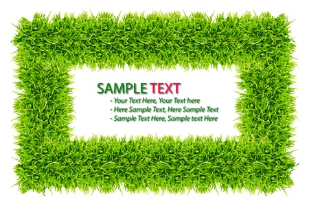 field landscape: green grass frame isolated on white background