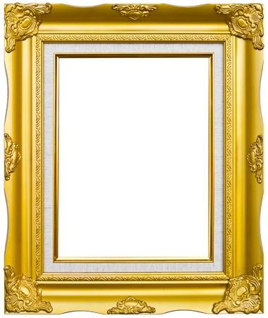 Golden hout foto image frame geïsoleerd op witte achtergrond