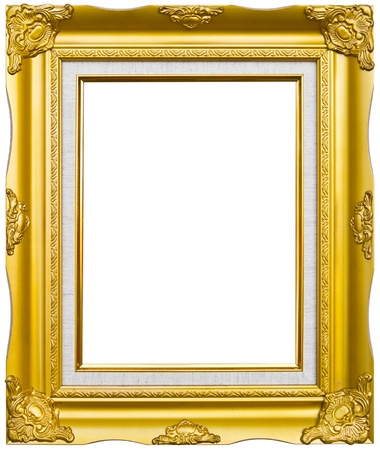 golden wood photo image frame isolated on white background photo