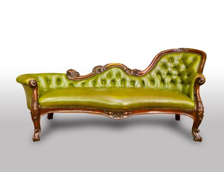 green luxury leather armchair isolated photo