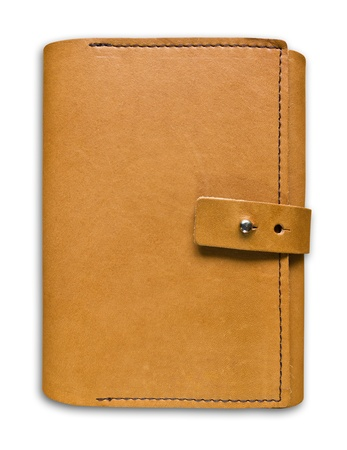 leather case notebook isolated on white background photo