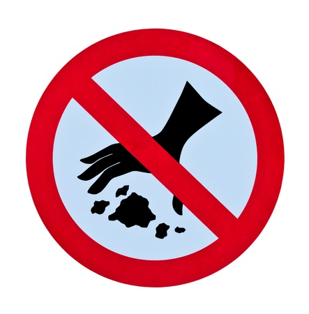 no littering garbage warning sign isolated Stock Photo - 8385857