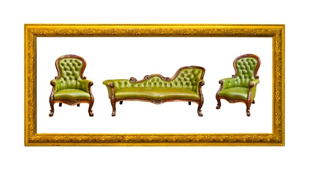 green luxury leather armchair in golden wood photo image frame isolated photo