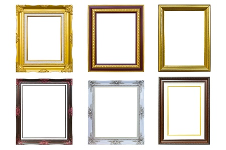 collection of golden wood photo image frame isolated on white background photo