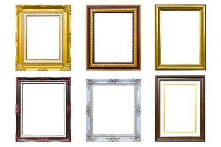 ornamentations: raccolta di foto di legno dorato cornice di immagine isolato su sfondo bianco