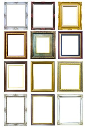 collectie van gouden houten beeld fotolijstjes geïsoleerd op witte achtergrond Stockfoto