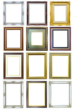collection of golden wood photo image frame isolated on white background Stock Photo