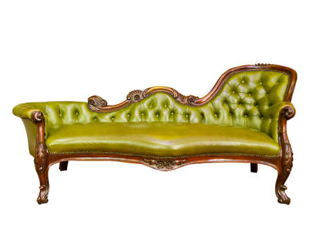 leather armchair: green luxury leather armchair isolated Stock Photo