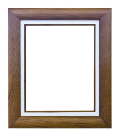 brown wood photo image frame isolated on white background photo