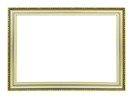 golden wood photo image frame isolated on white background Stock Photo - 8390222