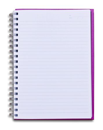 purple notebook isolated on white background Stock Photo - 8390170