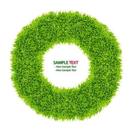 groen gras donut frame geïsoleerd op witte achtergrond Stockfoto