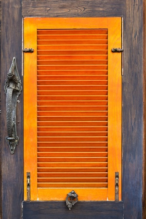 old vintage orange wood window Stock Photo - 8428661