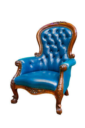 blue luxury leather armchair isolated on white background Stock Photo - 8428643