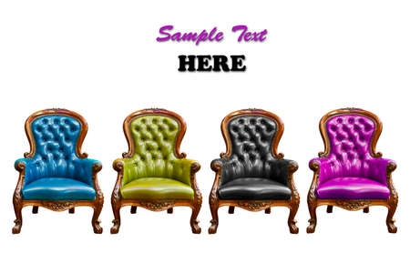 set of luxury leather armchair isolated