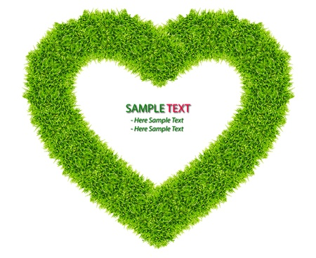 green grass love heart frame isolated on white background