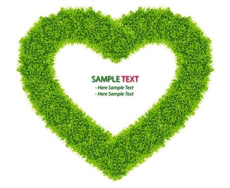 love wallpaper: green grass love heart frame isolated on white background