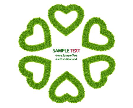 green grass love heart frame isolated on white background Stock Photo - 8671211
