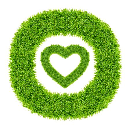 green grass love heart frame isolated on white background photo