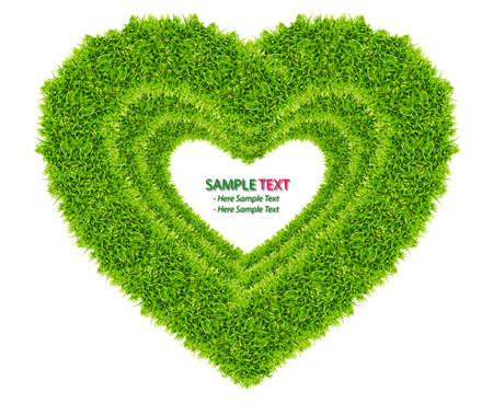 green grass love heart frame isolated on white background Stock Photo - 8671226