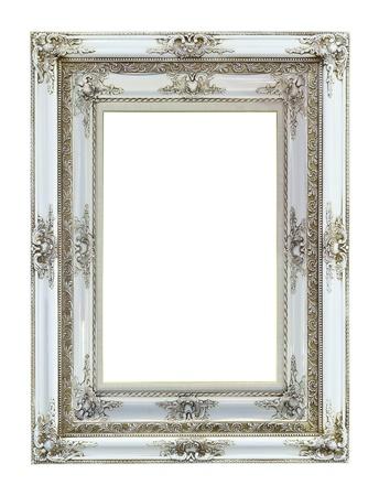 ornamentations: Foto di legno bianco cornice di immagine isolato su sfondo bianco Archivio Fotografico