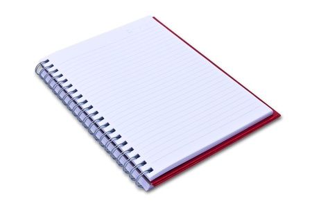 red notebook isolated on black background Stock Photo - 8671076
