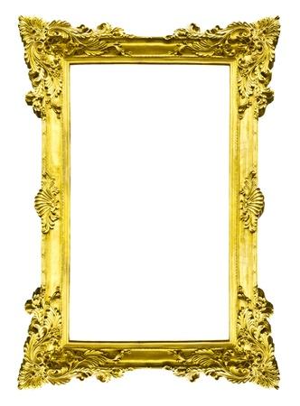 Golden Holz-Foto-Bild-Frame isolated on white background Standard-Bild