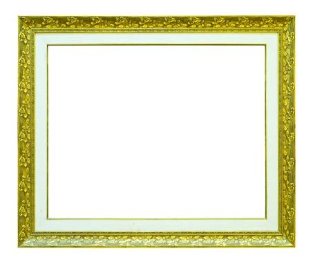 bordure vieille photo: photo de bois dor� image frame isol�e sur fond blanc