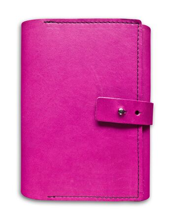 pink leather case notebook isolated on white background photo