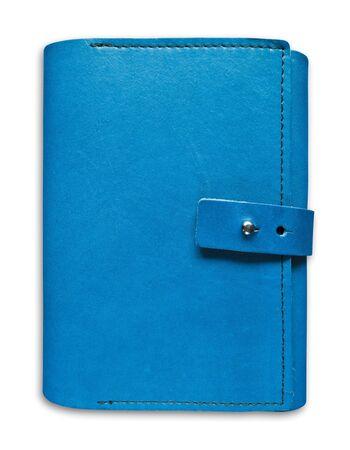 blauw lederen case notebook geïsoleerd op witte achtergrond Stockfoto