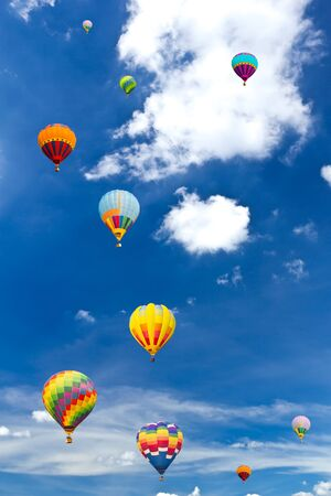 colorful hot air balloon against blue sky Stock Photo - 8820410