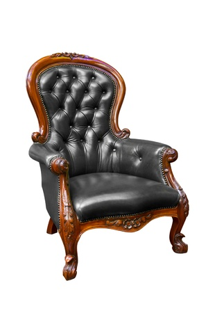 leather armchair: black luxury leather armchair isolated Stock Photo