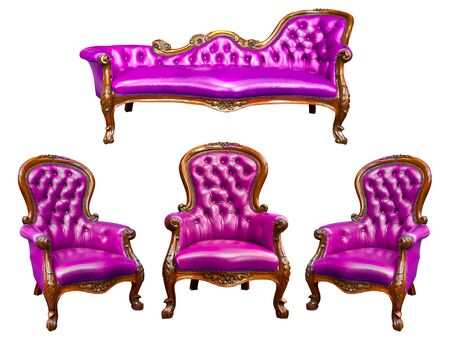 leather armchair: luxury purple leather armchair isolated