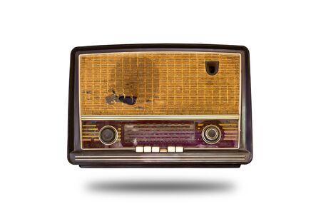 transistor: antigua radio cosecha aislada sobre fondo blanco
