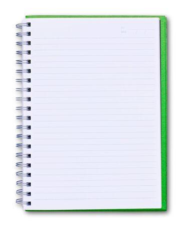 groene notebook geïsoleerd op witte achtergrond