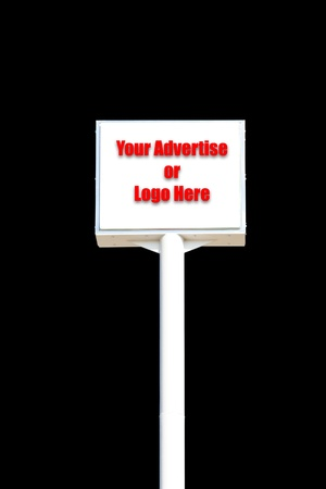 white blank sign isolated on black background , useful for any advertise or logo Stock Photo - 8820293