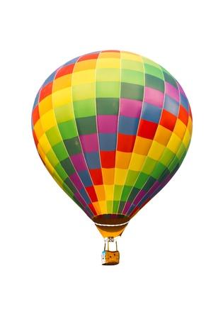 kleurrijke hete luchtballon geïsoleerd op witte achtergrond Stockfoto
